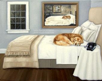 Sleepy Golden. . .Life Imitating Art (after Wyeth) . . . . .11x14 Original OIL Painting by Lara Retriever