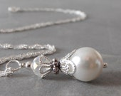 White Pearl Bride Necklace Small Pearl Pendant Necklace Pearl Wedding Jewelry Sets Beaded Necklace Bridesmaid Gift Sterling Silver Chain