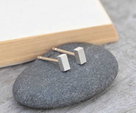 little stick earring studs, simple bar earring studs, handmade in England