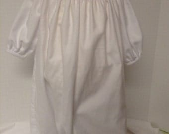 Ready to Smock Brushed Flannel Baby White  Drawstring Daygown NB-8lbs Made to Order