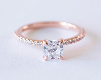 Rose Gold Engagement Ring | Cushion Cut Solitaire Diamond Ring | Eternity Band | Forever One Moissanite Wedding Ring [The Dominique Ring]