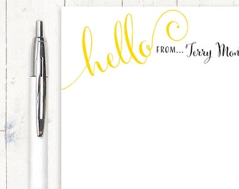 personalized notePAD - HELLO SLANTED - stationery - stationary - choose color