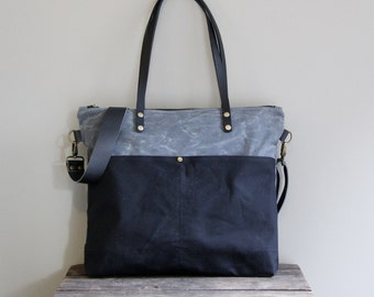 Waxed Canvas Tote in Charcoal and Black with Exterior Pockets
