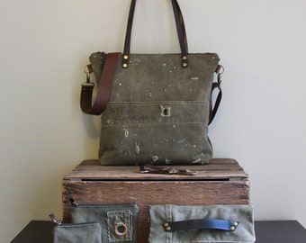 Vintage Military Duffel Bag Tote and Accessories