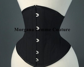 Black english coutil custom made waist training tightlacing cincher