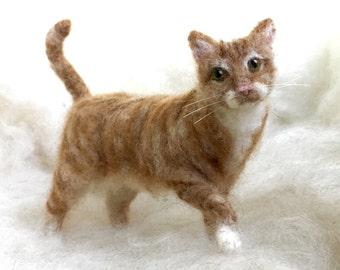 Needle Felted Cat Pet Portait, Orange Tabby