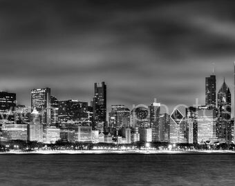 CANVAS Chicago Skyline at Night Black & White BW 2015 - Large Panoramic Print - Panorama Photo