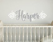 Name Wall Decal, personalized, girl name, vinyl letters, nursery wall decals, rose decals, vinyl rose stickers, flower nursery decal, baby