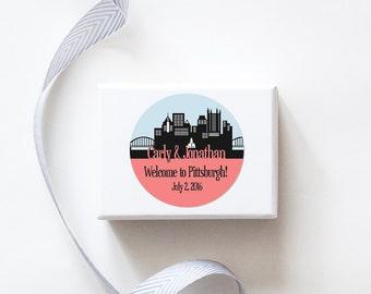 Pittsburgh, PA Custom Wedding Welcome Stickers  -  SKYLINE DESIGN