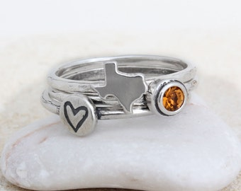Texas Ring Stackable in Sterling Silver, State of Texas Stack Ring Paired with Birthstone,  Texas Silver Band Ring by Nelle and Lizzy