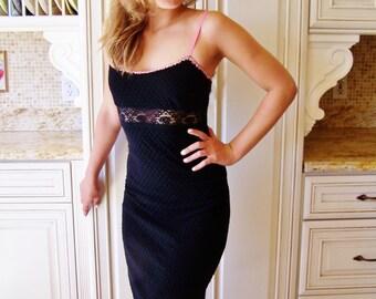 Betsey Johnson, Designer dress, Little Black Dress, Black Lace dress, Stretch Lace dress, Bodycon dress, size XS