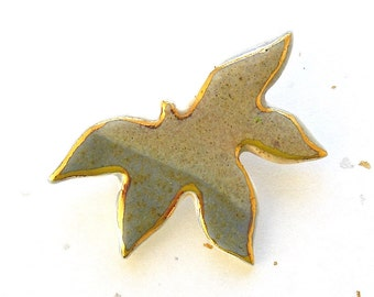 Maple Leaf Brooch. Earth Tone. 22K Gold Edging. Clay. Gray-Blue. Tan. Blue. Gray. Porcelain. Ceramic. Autumn Jewelry. Woodland. Statement