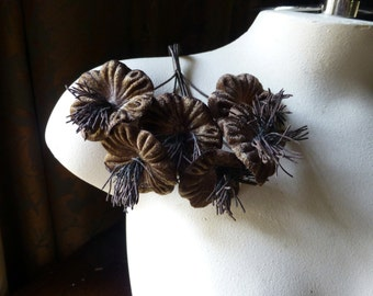 Brown Velvet Millinery Flower YoYos for Boutonnieres, Bridal, Fascinators, Floral Supply MF 99