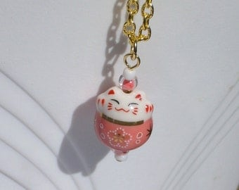 Maneki Neko Hearts and Flowers Japanese Lucky Cat Romance Necklace