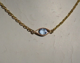 Blue Crystal Eye Pendant Necklace