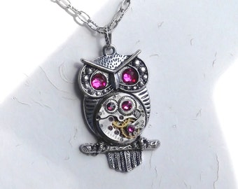 Steampunk Goddess Athena Owl Ruby and Fuchsia Necklace Vintage Watch Movement