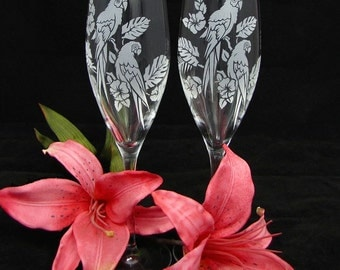 2 Champagne Flutes, Destination Wedding, Mexico or Tropics, Tropical Theme with Macaws, Bird Lover Set