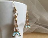 Eiffel Tower Earrings, Parisian Earrings, Party Jewelry, Travel Jewelry, 14K Italian Gold Earring Hooks, Hypoallergenic