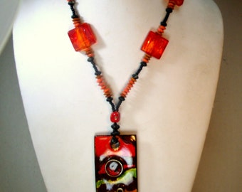 Modernist Enamel Space Race Pendant with Red Glass Beads, Copper Glass Wood, OOAK by Rachelle Starr, Ecochic Recycled