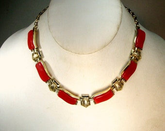 Red Thermoset Choker, Silver Links,  Adjustable Chain Necklace, 1950s,
