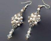 Bridal Earrings - White Crystal Earrings - Pearl Beaded Earrings - Crystal Earrings - Crystal Jewelry - Crystal Beaded Earrings