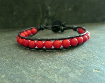 Stone Charity Bracelet Red Jewelry Leather Cord Bracelet Red Jewelry Beaded Bracelet Bohemian Bracelet Wrist Candy For Her Womens Jewelry