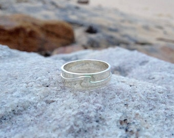Men's Wave Ring, Wave Wedding Band in 9kt White Gold in size 9, Ready to Ship! - Wave Ring Collection