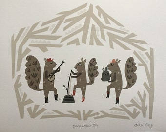 Squirrel Jug Band Print