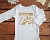Gold Glitter Mathlete ONESIE-Math Science Humor Baby Shower Gift- Baby Girl Funny Tshirt for toddler infant- future mathlete ONESIE- #003