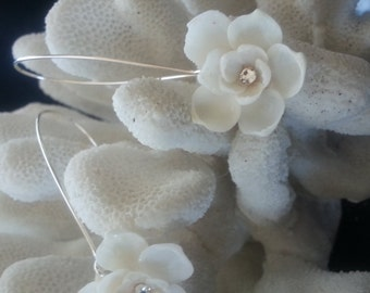 Long White Blossom SEASHELL Earrings with Swarovski Crystals (Limited Availability)