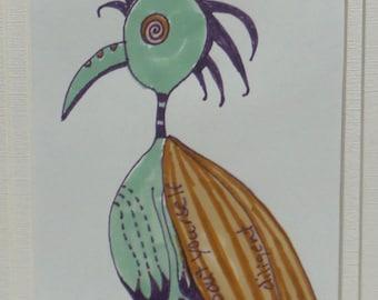 Funky Bird Original Pen and Ink drawing