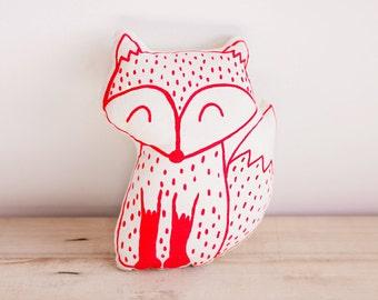 Foxy Lady plush pillow. Red Fox plushie. Red Fox pillow. Handmade FoxyLady. Fox plush toy cushion. Fox screen printed plushie pillow