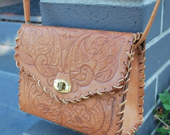 Vintage Tooled Leather Boxy Purse