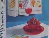 Vintage Simplicity 4706 Embroidery Transfer 4 Fruit Designs, Kitchen Patterns, Towels, Place Mats Iron On Retro Cross Stitch Transfers UNCUT