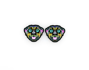 Rottweiler Day of the Dead Sugar Skull Dog Earrings