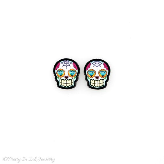 Sugar Skulls with Diamond Eyes - Dia de los Muertos Earrings