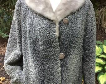 Grey Persian Lamb jacket with mink collar large