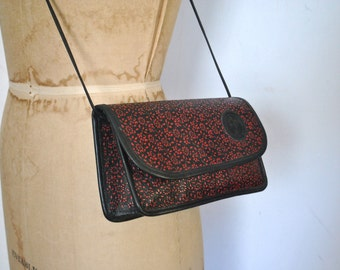 Carlos Falchi Leather Purse / red and black floral
