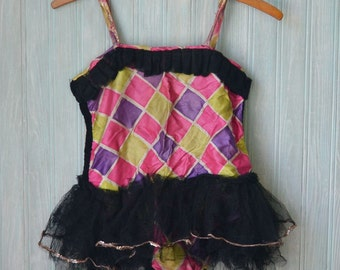 Antique Child's Dance Costume Purple Pink Chartreuse & Black Tulle Netting Sequins