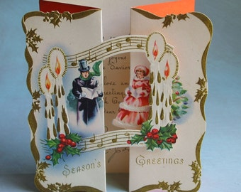 Vintage 1930's Fold Out Christmas Card Carolers Music Stand Up