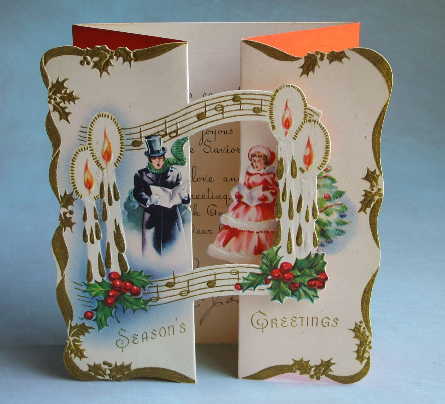 Christmas Carolers Singers Vintage Decorations By: Vintage 1930's Fold Out Christmas Card Carolers Music