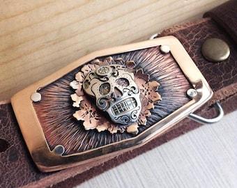 Sugar Skull Dia De Los Muertos Belt Buckle in Copper, Bronze and Sterling Silver