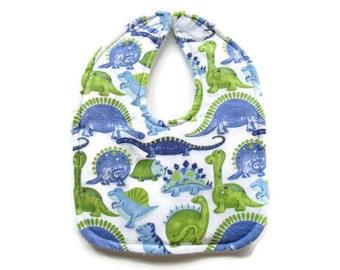 Blue & Green Dinosaur Baby Bib - Flannel Dinosaur Baby Bib - Dinosaur Toddler Bib - Dinos Baby Boy Bib