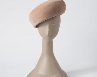 Vintage 60s Borsalino Camel Beret, Antica Casa Designer Wool Felt Beige Hat, Made in Italy