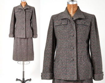 1940s Gray Wool Suit, Vintage Tweed with Pastel Weave, 40s Two Piece Skirt Jacket Set, Woman's Clothing, Suits