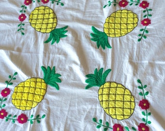 Vintage Pineapple & Flower Tablecloth or Table Runner with Embroidery, Crochet Home Décor Fabric