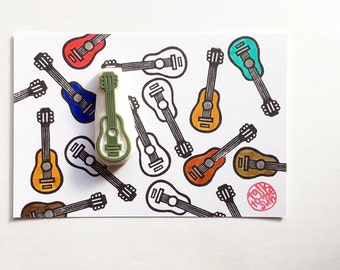 acoustic guitar stamp. musical instrument hand carved rubber stamp. music stamp. teacher's stamp. card making