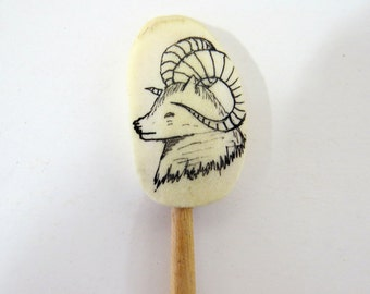 Mountain Goat, Sheep Rams Head Collector Spoon, Ink Drawing on Moose Antler Canada Travel Souvenir
