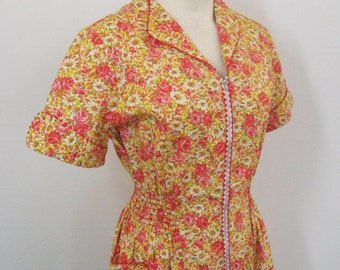Deadstock Cotton House Dress 50s 60s Vintage Princess Peggy Kitchen Formal, Orange Red Yellow Floral, Rick Rack Trim Zip Front NOSWT Bust 36