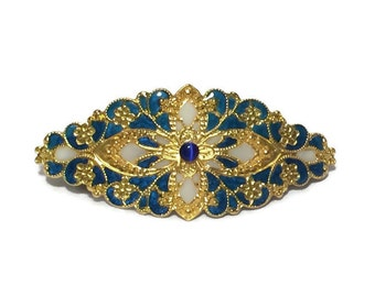 Hand Enameled Hair Ornament/Barrette in Royal Blue and White